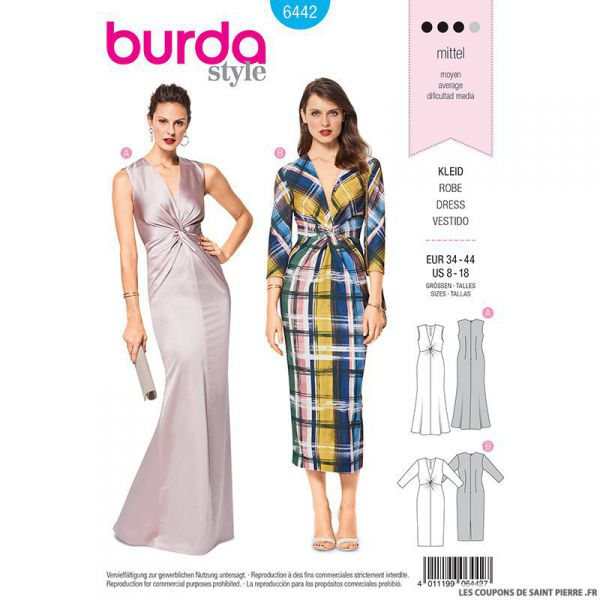 Patron Burda n°6442: Robe stretch