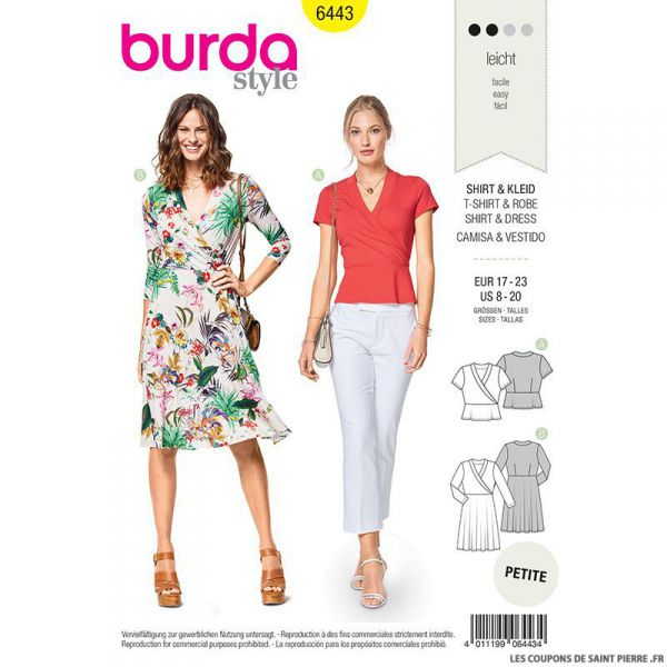 Patron Burda n°6443: Robe portefeuille