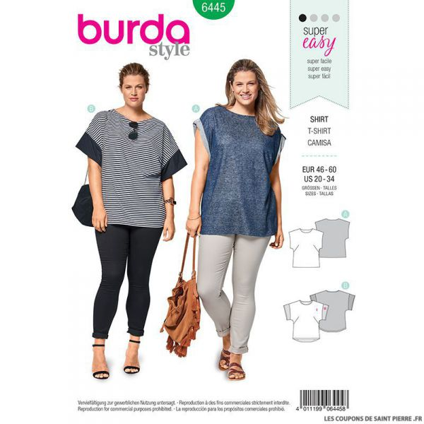 Patron Burda n°6445: Tee-shirt encolure ronde