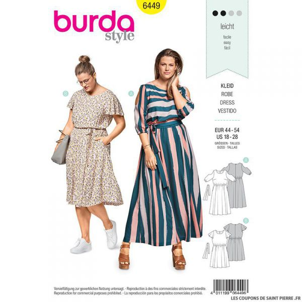 Patron Burda n°6449: Robe d'été