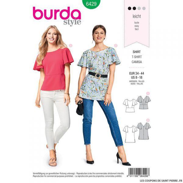 Patron Burda n°6429: T-shirt manches cloche