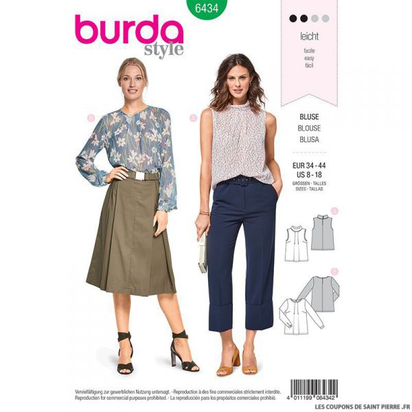 Patron Burda n°6434: blouse à plis