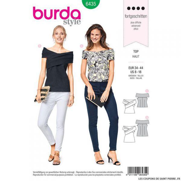 Patron Burda n°6435: top à plis
