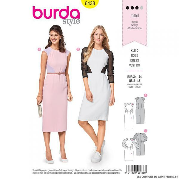 Patron Burda n°6438: Robe bicolore