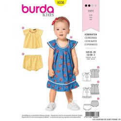 Patron Burda n°9338: Robe chasuble fille à volant