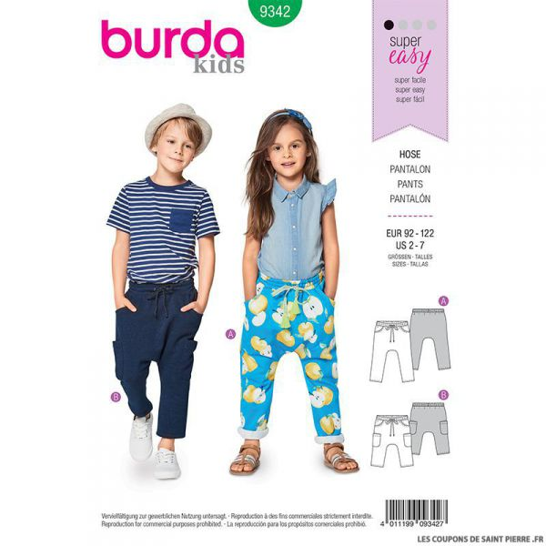 Patron Burda n°9342: Pantalon à coulisse