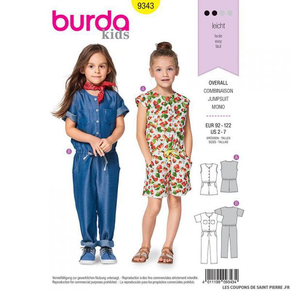 Patron Burda n°9343: Combinaison enfant
