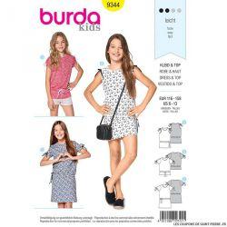 Patron Burda n°9344: Robe épaule froncée enfant