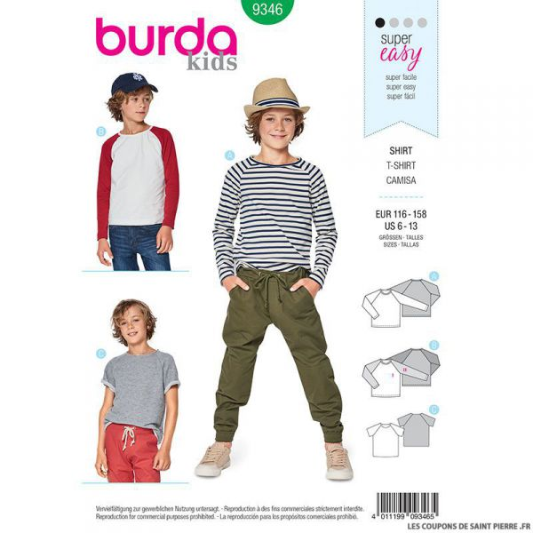 Patron Burda n°9346: Tee-shirt enfant simple