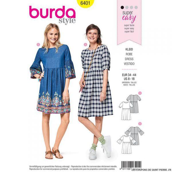 Patron Burda n°6401 : Robe foncée