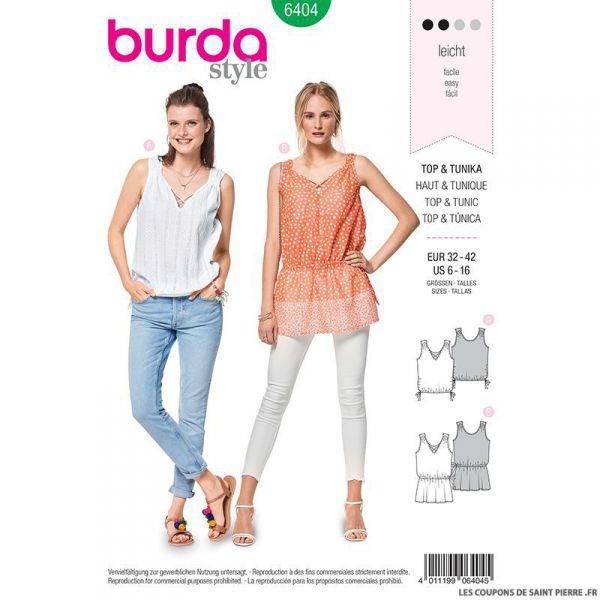 Patron Burda n°6404 : Tunique à fronce