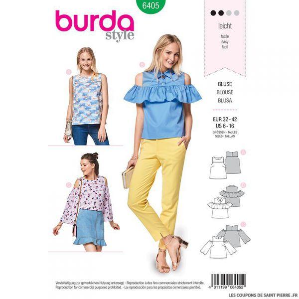 Patron Burda n°6405 : Top épaules découpées