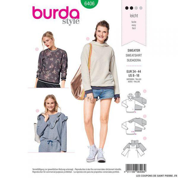Patron Burda n°6406 : Sweat à capuche
