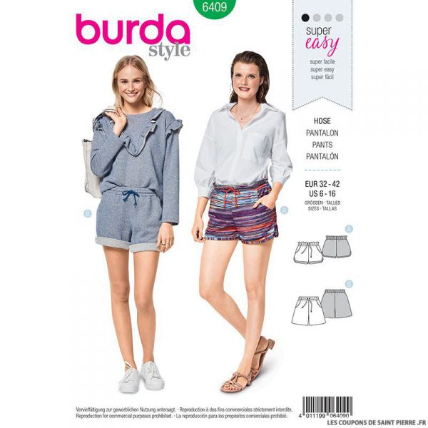 Patron Burda n°6409 : shorts
