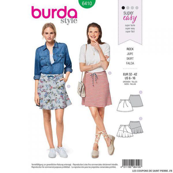 Patron Burda n°6410 : Jupe facile