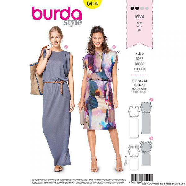 Patron Burda n°6414 : Robe sans manches