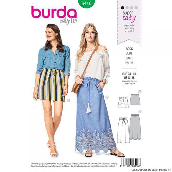 Patron Burda n°6416 : Jupe simple