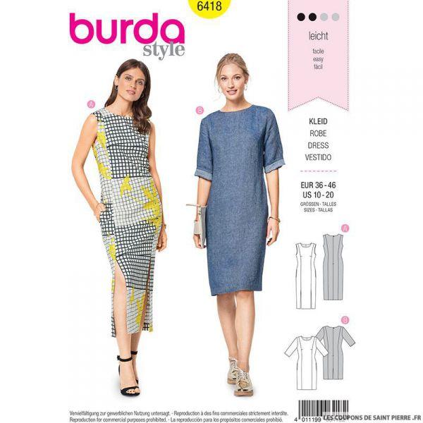 Patron Burda n°6418 : Robe fourreau