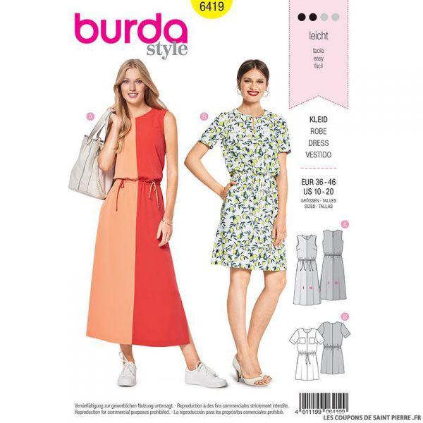 Patron Burda n°6419 : Robe à coulisse