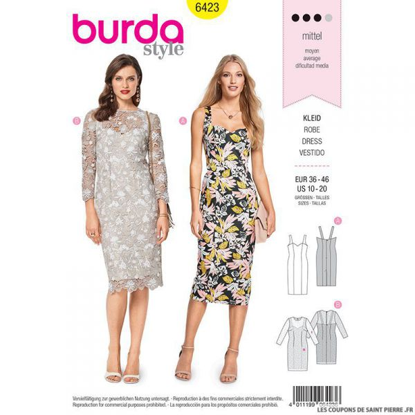 Patron Burda n°6423 : Robe à bretelle