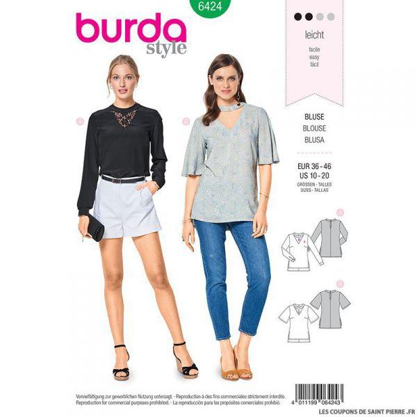 Patron Burda n°6424 : Blouse col en V