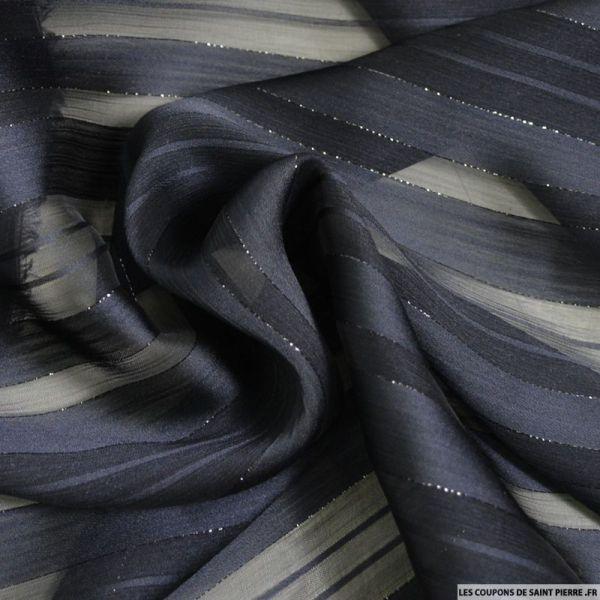 Tissu Dévorée rayé irisé bleu nuit
