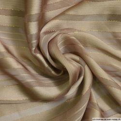 Tissu Dévorée rayé irisé or