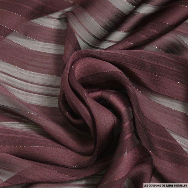 Tissu Dévorée rayé irisé acajoux