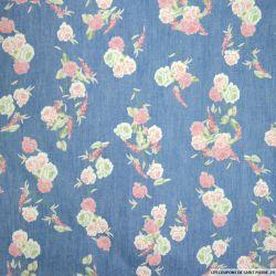 Chambray de coton imprimé bohème fleurs roses