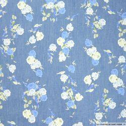 Chambray de coton imprimé bohème fleurs bleues
