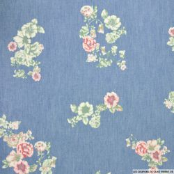 Chambray de coton imprimé printanier fleurs roses