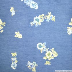Chambray de coton imprimé printanier fleurs bleues