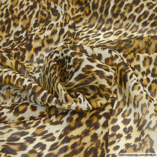 Mousseline de polyester imprimé sauvage camel fil irisé or
