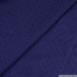 Mousseline de polyester imprimé plumetis bleu