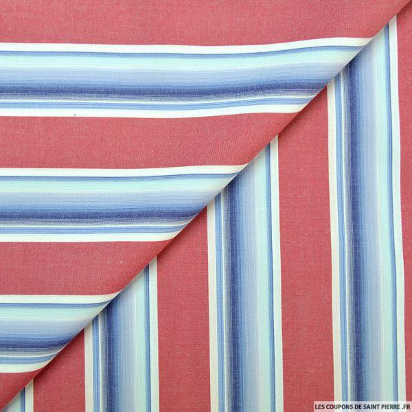 Coton chemise rayures larges framboise et violet