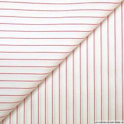 Coton chemise rayures fines rouge fond blanc cassé