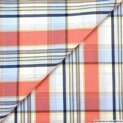 Coton chemise quadrillé orange et bleu fil irisé