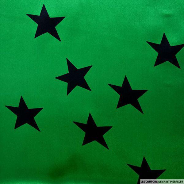 Satin de soie imprimé étoiles fond vert