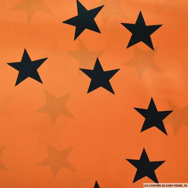 Satin de soie imprimé étoiles fond orange
