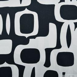 Satin de soie imprimé abstrait noir et gris
