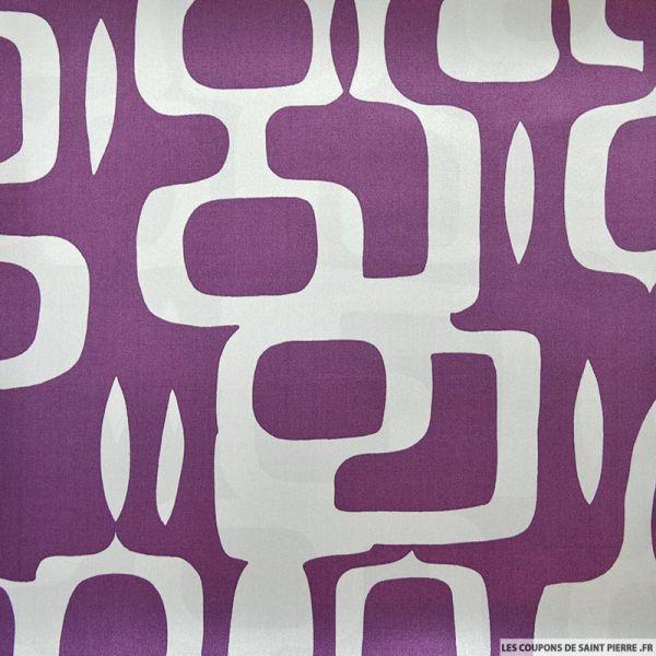 Satin de soie imprimé abstrait violet et gris