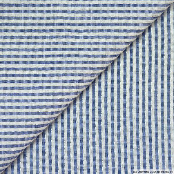 Seersucker coton fines rayures lurex marine