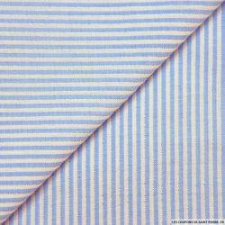 Seersucker coton fines rayures lurex bleu clair