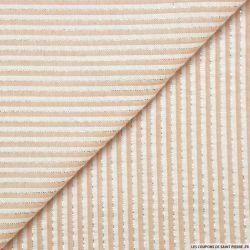 Seersucker coton fines rayures lurex rose poudre