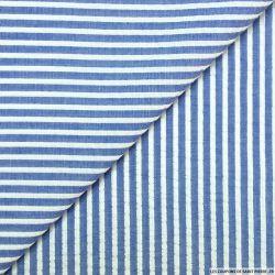 Seersucker coton larges rayures lurex marine