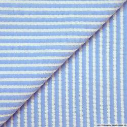 Seersucker coton larges rayures lurex bleu clair
