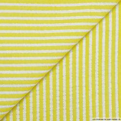 Seersucker coton larges rayures lurex jaune