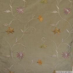 Soie sauvage / Doupion de soie brodé fleurs vieux rose fond marron glacé