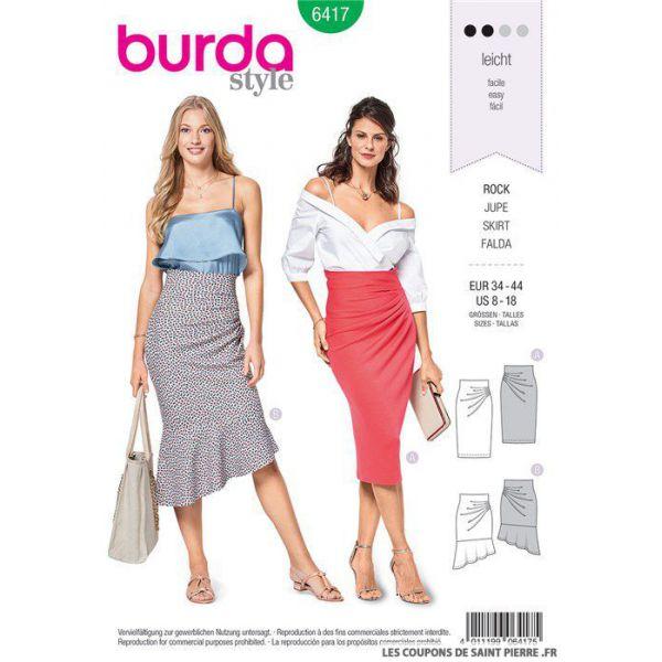 Patron Burda n°6417 : Jupe haute