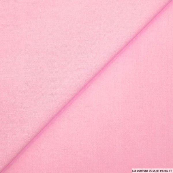 Coton uni rose poudre